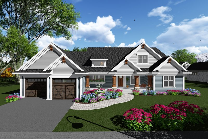 Dream House Plan - Ranch Exterior - Front Elevation Plan #70-1273