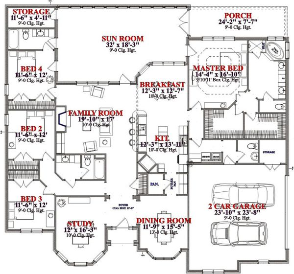 Traditional Floor Plan - Main Floor Plan Plan #63-233
