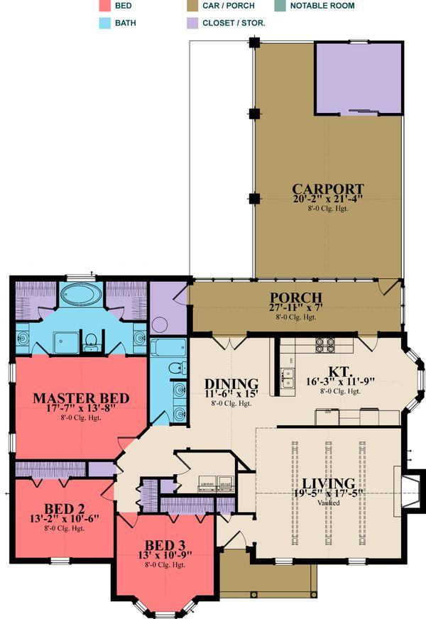 Country Floor Plan - Main Floor Plan Plan #63-275