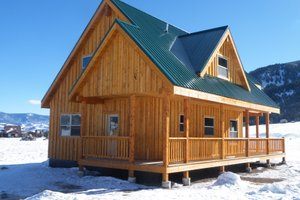 Cabin Exterior - Front Elevation Plan #118-113