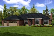 Ranch Style House Plan - 3 Beds 2.5 Baths 2684 Sq/Ft Plan #124-289 Exterior - Front Elevation