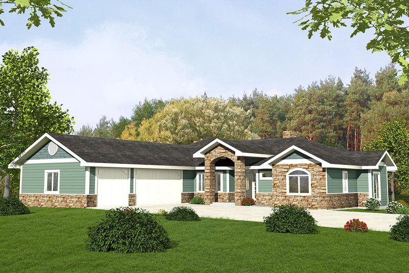Ranch Style House Plan - 2 Beds 2.5 Baths 2176 Sq/Ft Plan #117-872 Exterior - Front Elevation
