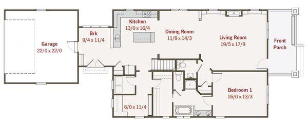 Craftsman Floor Plan - Main Floor Plan Plan #461-37