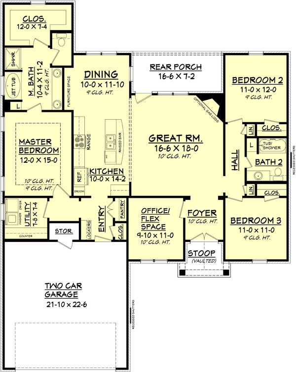 Ranch Floor Plan - Main Floor Plan Plan #430-88