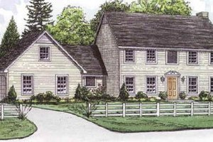 Colonial Exterior - Front Elevation Plan #16-209