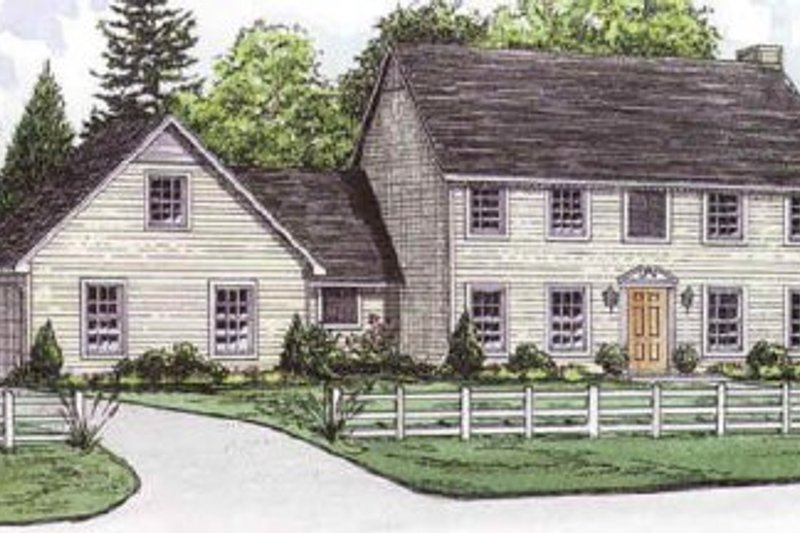 Colonial Style House Plan - 4 Beds 2.5 Baths 2178 Sq/Ft Plan #16-209 Exterior - Front Elevation