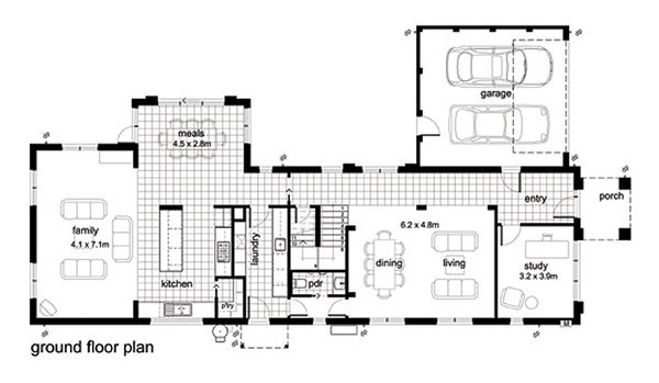 Modern Floor Plan - Main Floor Plan Plan #496-2