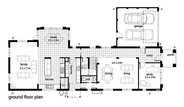 Modern Floor Plan - Main Floor Plan Plan #496-2