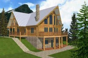 Log Exterior - Front Elevation Plan #117-103