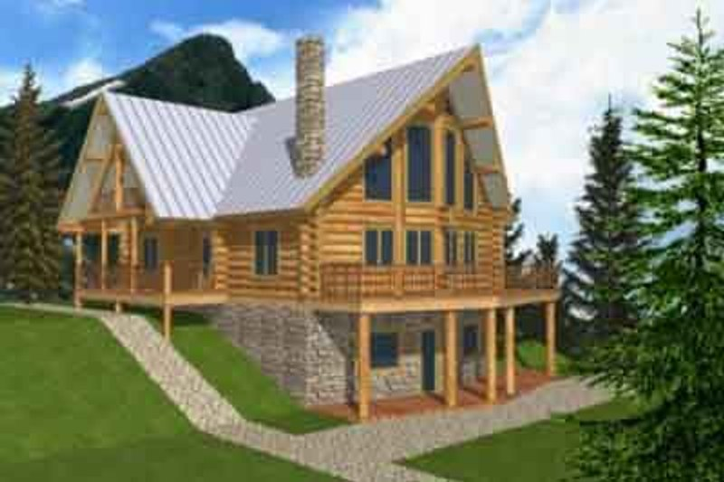 Log Exterior - Front Elevation Plan #117-103 - Houseplans.com