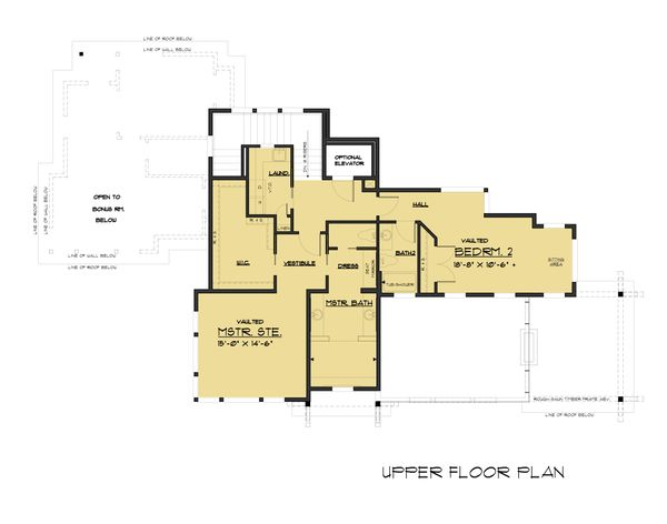 Modern Floor Plan - Upper Floor Plan Plan #1066-43
