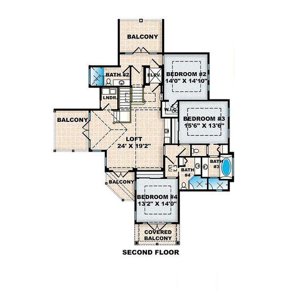 Beach Floor Plan - Upper Floor Plan Plan #27-567