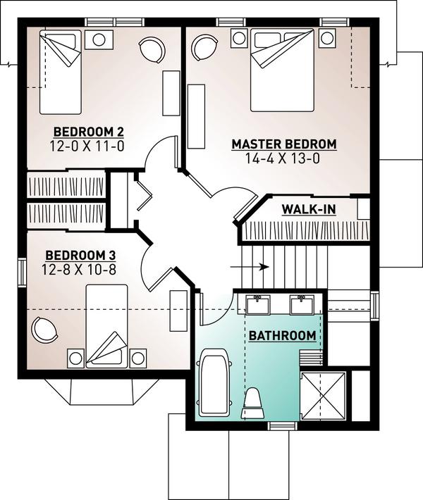 Country Floor Plan - Upper Floor Plan Plan #23-2240