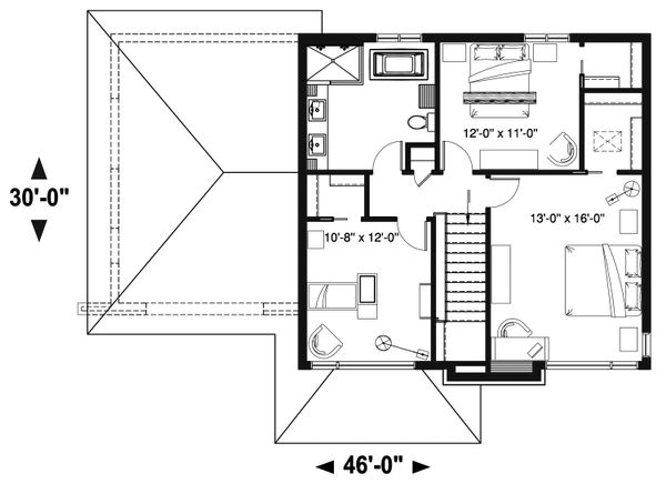 Contemporary Floor Plan - Upper Floor Plan Plan #23-2644