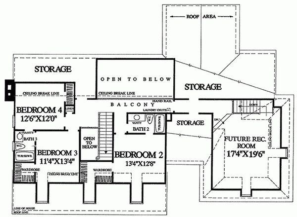 Southern Floor Plan - Upper Floor Plan Plan #137-276