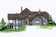 Traditional Style House Plan - 4 Beds 4.5 Baths 3449 Sq/Ft Plan #5-335 Exterior - Front Elevation