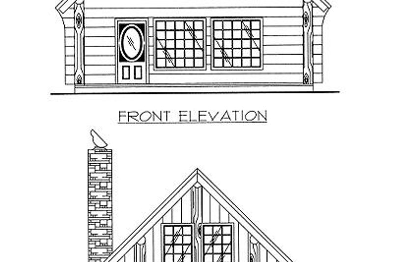 Log Exterior - Rear Elevation Plan #117-500 - Houseplans.com