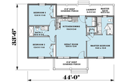 Farmhouse Style House Plan - 2 Beds 2 Baths 1035 Sq/Ft Plan #44-224 Floor Plan - Main Floor Plan