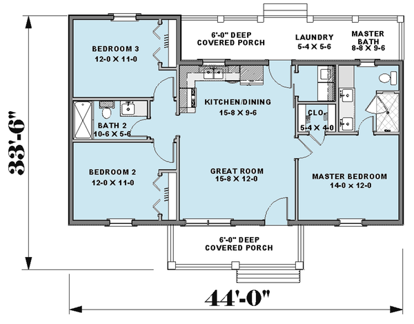 Farmhouse Floor Plan - Main Floor Plan Plan #44-224
