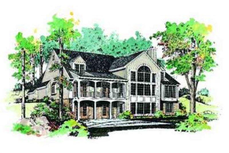 Traditional Exterior - Rear Elevation Plan #72-214 - Houseplans.com