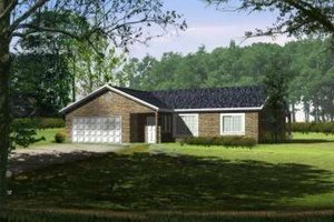 Ranch Exterior - Front Elevation Plan #1-352