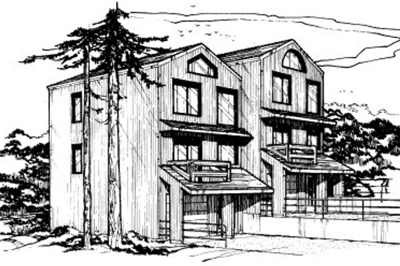 Contemporary Style House Plan - 2 Beds 1.5 Baths 2160 Sq/Ft Plan #303-256 Exterior - Front Elevation