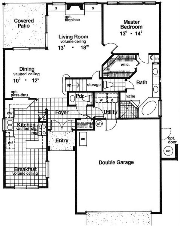 Mediterranean Floor Plan - Main Floor Plan Plan #417-163