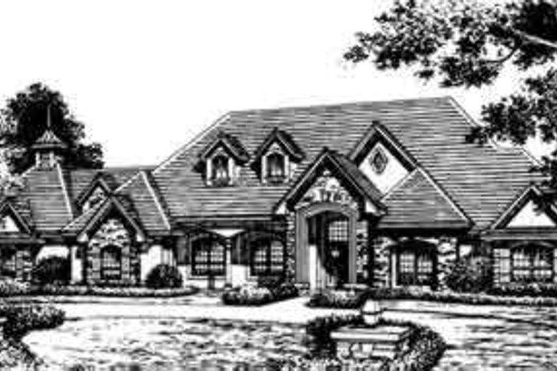 European Style House Plan - 4 Beds 5 Baths 4923 Sq/Ft Plan #135-106 Exterior - Front Elevation