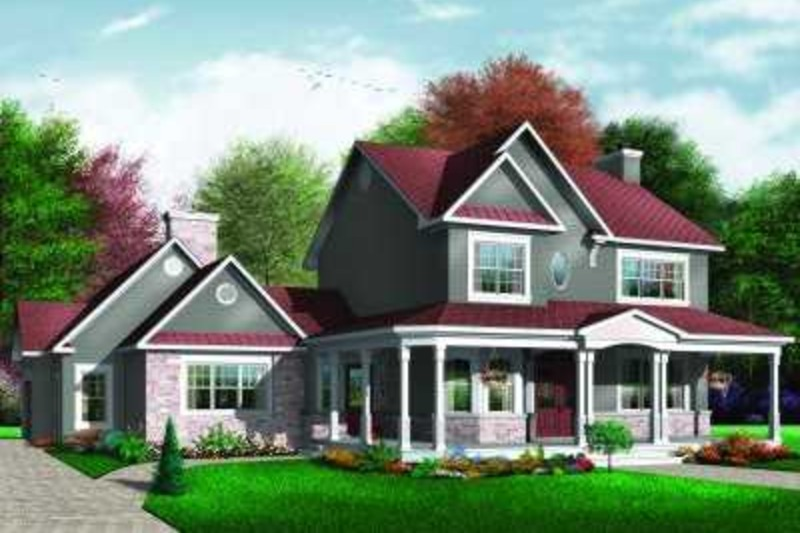 Country Exterior - Front Elevation Plan #23-382 - Houseplans.com