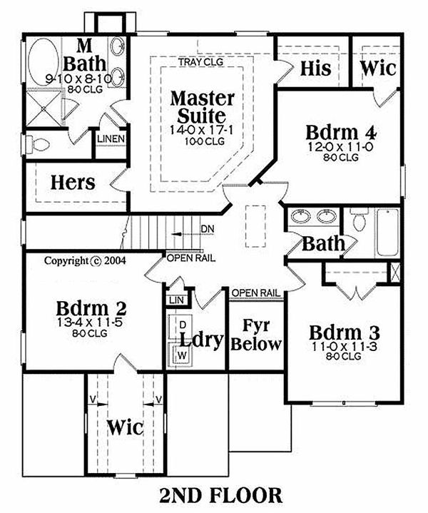Traditional Floor Plan - Upper Floor Plan Plan #419-176