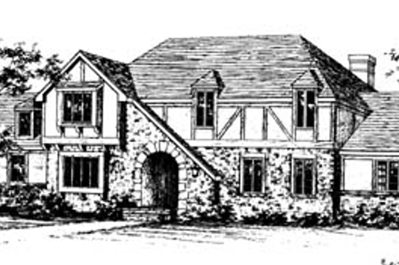 European Style House Plan - 4 Beds 3.5 Baths 3028 Sq/Ft Plan #10-259 Exterior - Front Elevation
