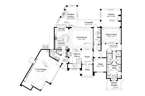 Contemporary Floor Plan - Main Floor Plan Plan #930-20