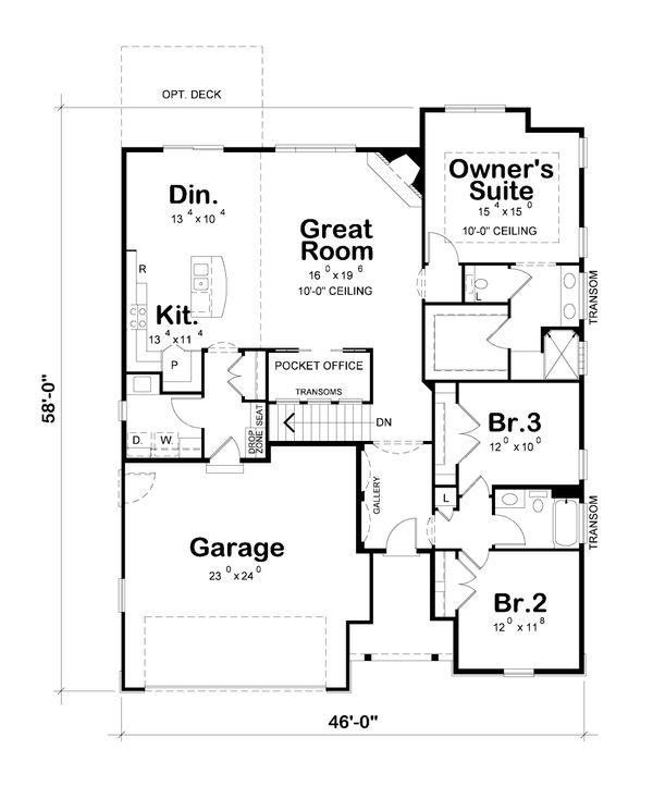 Dream House Plan - Ranch Floor Plan - Main Floor Plan #20-2312