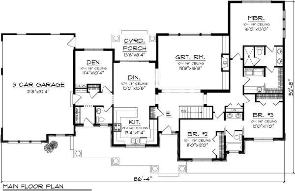 Traditional Floor Plan - Main Floor Plan Plan #70-1135