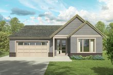 Ranch Exterior - Front Elevation Plan #124-1186