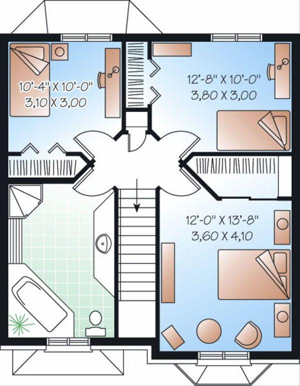 Colonial Floor Plan - Upper Floor Plan Plan #23-862