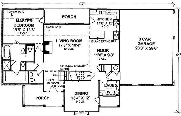 Country Floor Plan - Main Floor Plan Plan #20-367