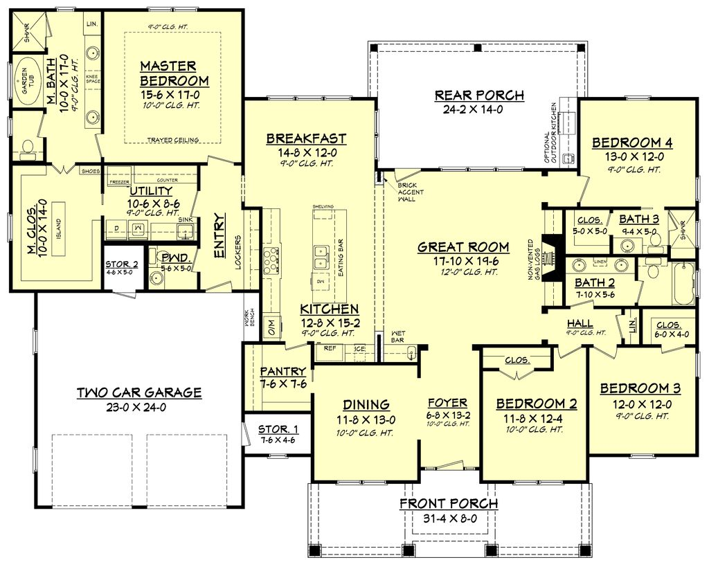 Craftsman style house plan 4 beds 3 5 baths 2759 sq ft plan 430