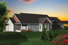 Home Plan - Ranch Exterior - Rear Elevation Plan #70-1057