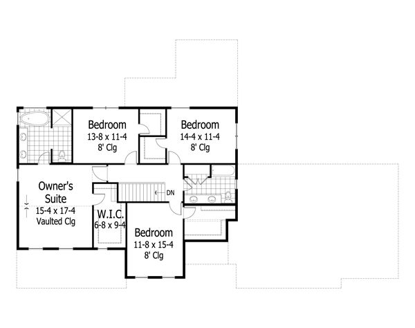 Craftsman Floor Plan - Upper Floor Plan #51-500