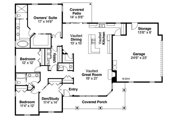 House Design - Ranch Floor Plan - Main Floor Plan #124-948