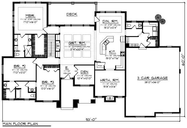 Ranch Floor Plan - Main Floor Plan Plan #70-1281