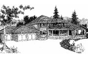 European Style House Plan - 4 Beds 3.5 Baths 3617 Sq/Ft Plan #60-643 Exterior - Front Elevation