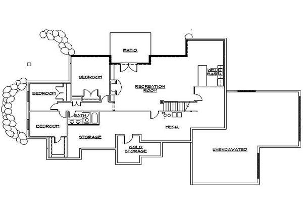 Bungalow Floor Plan - Lower Floor Plan Plan #5-380