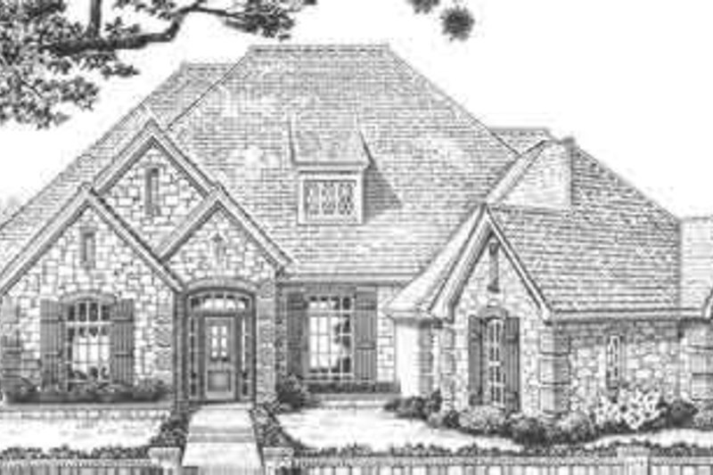 European Style House Plan - 4 Beds 3.5 Baths 3539 Sq/Ft Plan #310-330 Exterior - Front Elevation