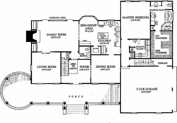 Colonial Style House Plan - 4 Beds 3.5 Baths 3359 Sq/Ft Plan #137-119 Floor Plan - Main Floor Plan