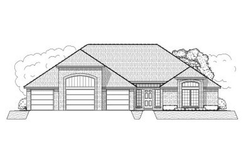 Ranch Style House Plan - 3 Beds 3 Baths 2585 Sq/Ft Plan #65-371 Exterior - Front Elevation