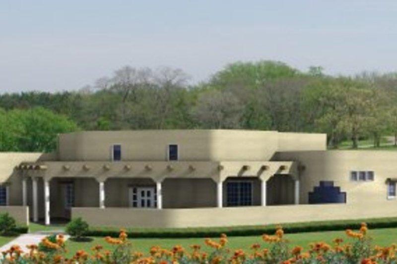 Adobe / Southwestern Style House Plan - 3 Beds 2.5 Baths 3673 Sq/Ft Plan #1-872