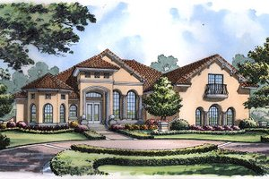 Dream House Plan - European Exterior - Front Elevation Plan #417-419