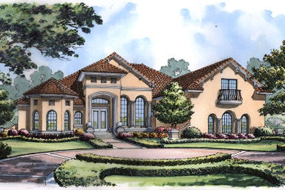 European Exterior - Front Elevation Plan #417-419